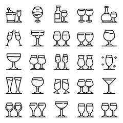 Wineglass icons set. Outline set of wineglass vector icons for web design isolated on white background