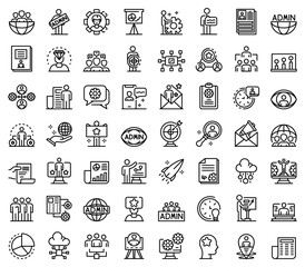 IT administrator icons set. Outline set of IT administrator vector icons for web design isolated on white background
