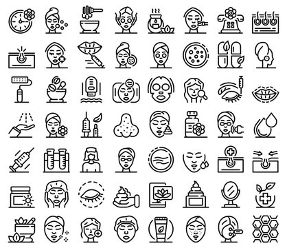 Beautician icons set. Outline set of Beautician vector icons for web design isolated on white background