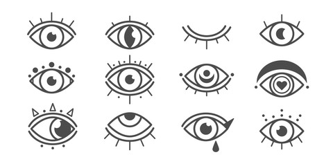 Abstract outline eyes, eyelashes. Closed and wide open. Minimalistic Look and Vision icons. Graphic vector set. Simple design. Trendy illustration. All elements are isolated