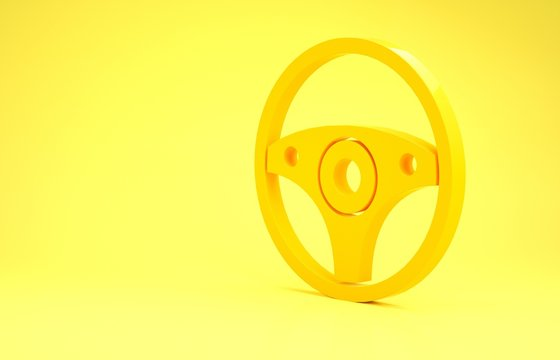 Yellow Steering wheel icon isolated on yellow background. Car wheel icon. Minimalism concept. 3d illustration 3D render