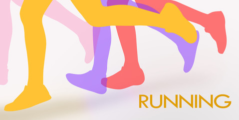 Running background with colorful human legs over white