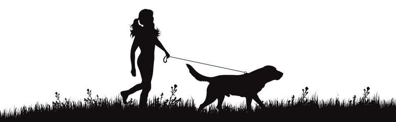 Vector silhouette of girl with dog walks on meadow on white background. Symbol of woman with her pet in the park.