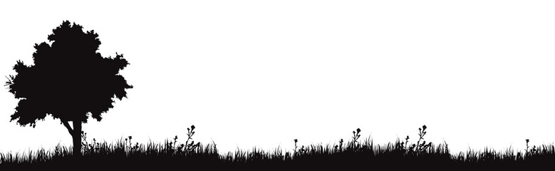 Vector silhouette of meadow on white background. Symbol of nature with grass and tree. Fotomurales