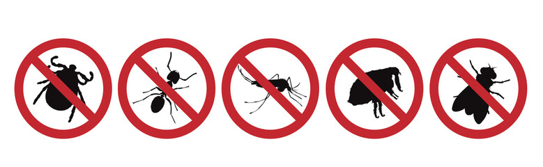 Vector silhouette no mosquito, thick, flea and fly mark on white background. Symbol of stop malaria and other disease.