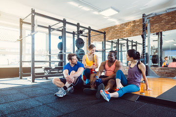 Group of diversity people having fun in the gym