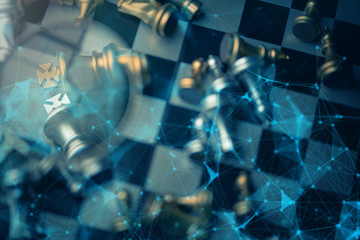 business chess strategy ideas concept topview chess with connecting virtual line connected futuristic technoligy creative ideas