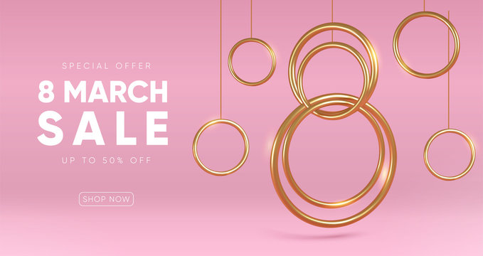 International Women's Day sale banner with golden decor elements. Eps10 vector.