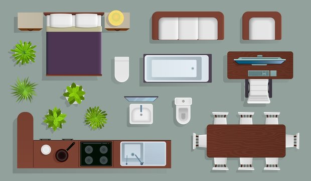 Interior top view. Office furniture design elements, bedroom and kitchen, bathroom plan, store and apartment view from above vector set