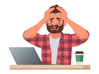 Stress or deadline at work. A business man clutched his head in panic. The bad news. Vector illustration