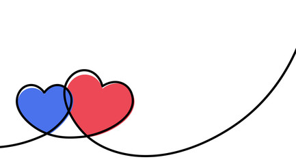 Fototapete - Valentines card with line art drawing of two simple hearts sign.
