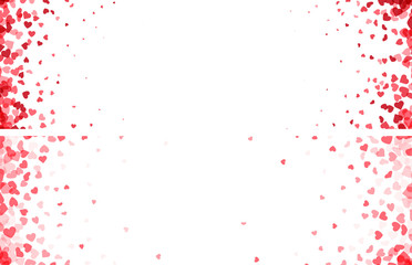Fototapete - Valentines day banners. Heart confetti falling over white background for greeting cards, wedding invitation.