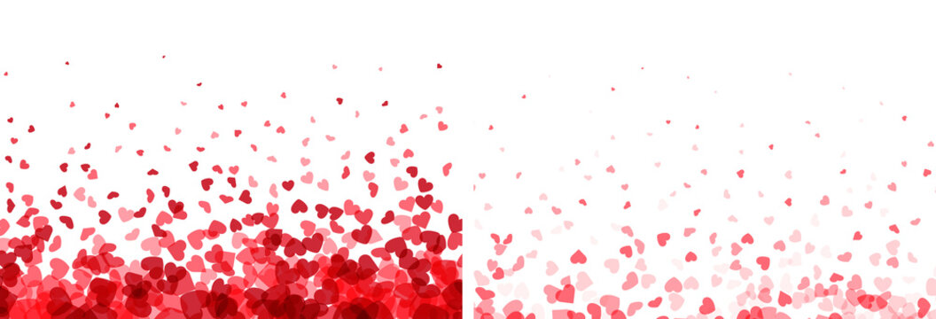Valentines day banners. Heart confetti falling over white background for greeting cards, wedding invitation.