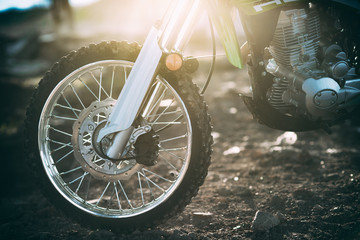 The front wheels of motocross and Enduro. Fender and Headlight Fototapete