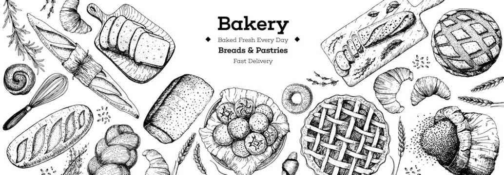 Bakery background. Bakery top view frame. Hand drawn sketch with bread, pastry, sweet. Bakery set vector illustration. Background design template . Engraved food image. Black and white package design.