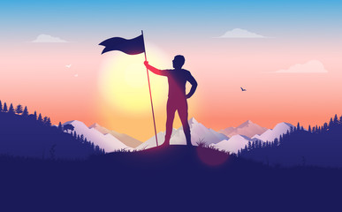 Overcoming challenge. Person holding a raised flag on mountain top. Waving flag, beautiful landscape, mountains in background. Personal goals, Success, leadership, achievement concept. Illustration.