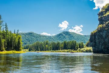 Poster Blauw Siberian mountain river Small Yenisei in summer sunny day.