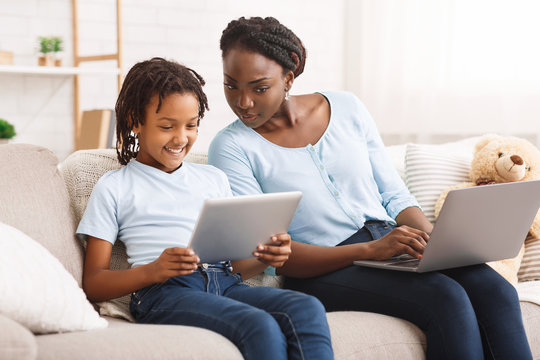 Caring mom providing children's online privacy protection