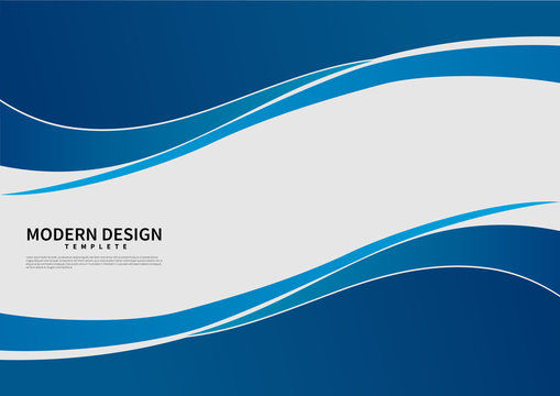 Abstract vector modern business background banner beautiful blue wave.