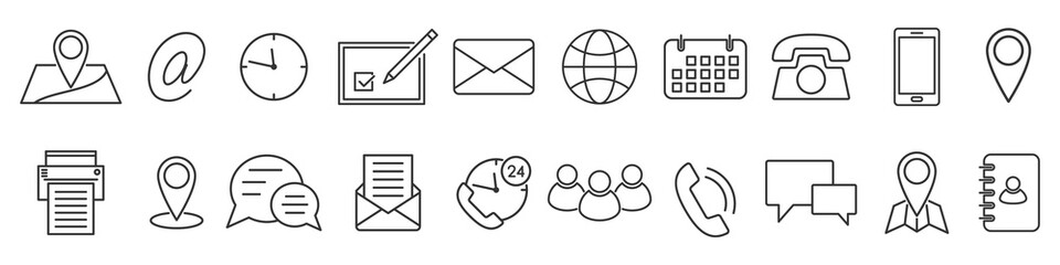 Icons in thin line style. Vector linear icons.