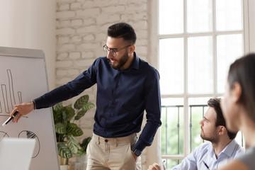Millennial Arabic businessman present plan on office meeting