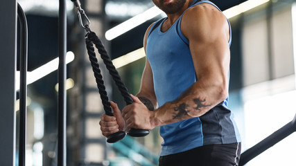 Wall Mural - Muscular guy exercising with training apparatus at gym