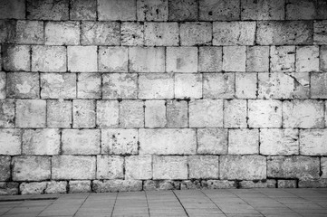 dark stone brick wall in black and white