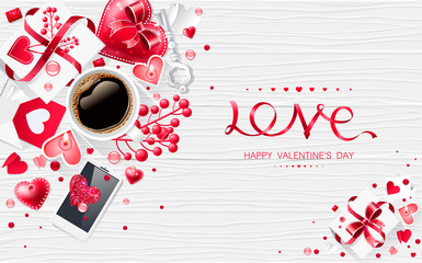 Valentine day love cup of coffee lettering web brochure flyer for advertising sale party design element wooden background