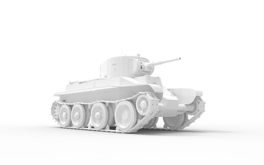 3d rendering of a white model tank isolated in white studio background Fototapete