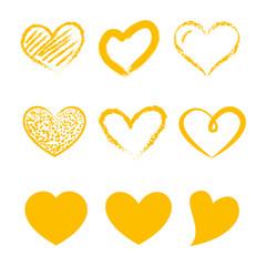 Fototapeta Walentynki - zestaw złotych serc obraz