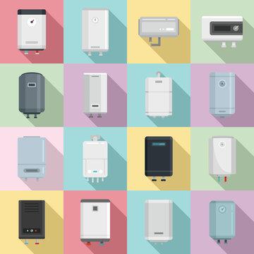 Boiler icons set. Flat set of boiler vector icons for web design