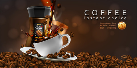 Coffee  advertising design  with cup of coffee and splash effect, 3D vector. High detailed realistic illustration
