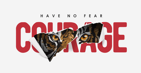 courage slogan ripped off with tiger illustration. Wild slogan ripped off with tiger. Wild hunt slogan with tiger and claw Fotobehang