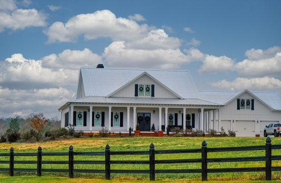 Christmas Ranch House Beyond Wood Fence