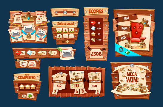 Elements game wood interface set dashboard for app vector