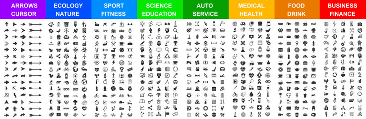 Big set icons by category: arrows, ecology, sport, science, auto, medical, food & drink, business, and many more for any cases of life using – vector