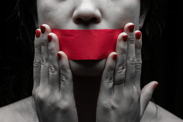 Concept on the topic of freedom of speech, censorship, freedom of press. International Human Right day
