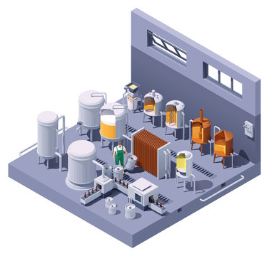 Vector isometric craft beer brewery interior. Beer brewing process infographic. Brewery equipment and machinery. Beer making process steps. Mashing, lautering, cooling, fermentation, bottling