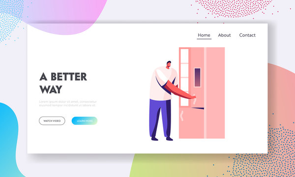 Household Artificial Intelligence Device Website Landing Page. Man Opening Smart Refrigerator with Wireless Wifi Internet Connection. Kitchen Iot Tech Web Page Banner. Cartoon Flat Vector Illustration