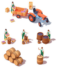 Vector isometric wine making equipment. Wine makers on grapes harvesting with tractor, grape crusher and press, aging barrels. Winery production process steps illustration