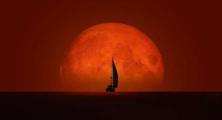 Fond de hotte en verre imprimé Rouge mauve Lone yacht with full moon