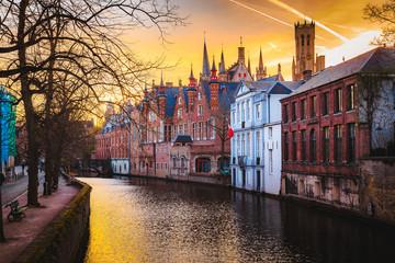 Foto auf Acrylglas Brugge Historic city center of Brugge, Flanders, Belgium