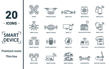 Smart Devices icon set. Include creative elements drone, smart car, smart house, solar battery roof, smart speaker icons. Can be used for report, presentation, diagram, web design