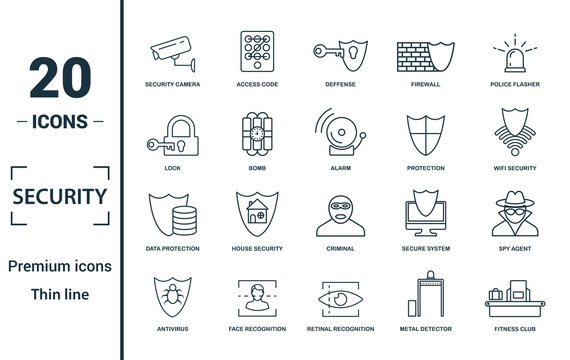 Security icon set. Include creative elements security camera, deffense, lock, protection, data protection icons. Can be used for report, presentation, diagram, web design