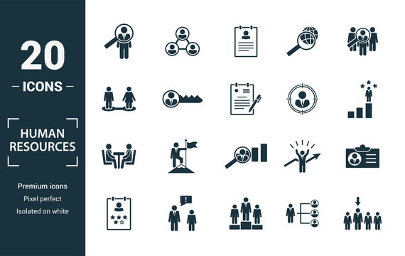 Human Resources icon set. Include creative elements searching, resume, relationship, head hunting, interview icons. Can be used for report, presentation, diagram, web design