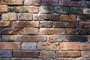 old red brick wall with light for background