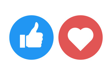 thumb up heart like isolated icons vector