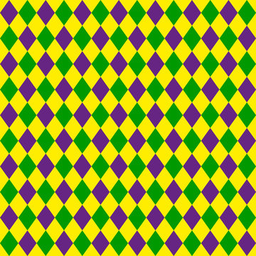 Green, purple, yellow grid Mardi Gras seamless vector pattern. Green, purple, yellow background for celebration