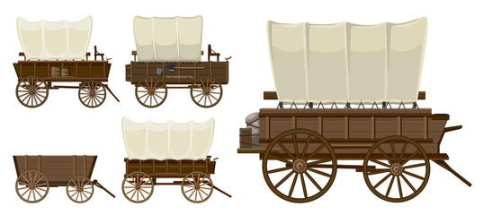 Wild west wagon isolated cartoon icon.Vector illustration set western of old carriage on white background .Vector cartoon set icon wild west wagon. Wall mural