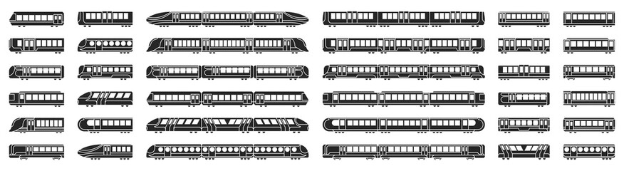 Subway train vector illustration on white background .Set black icon transport metro.Vector illustration set icon subway train.